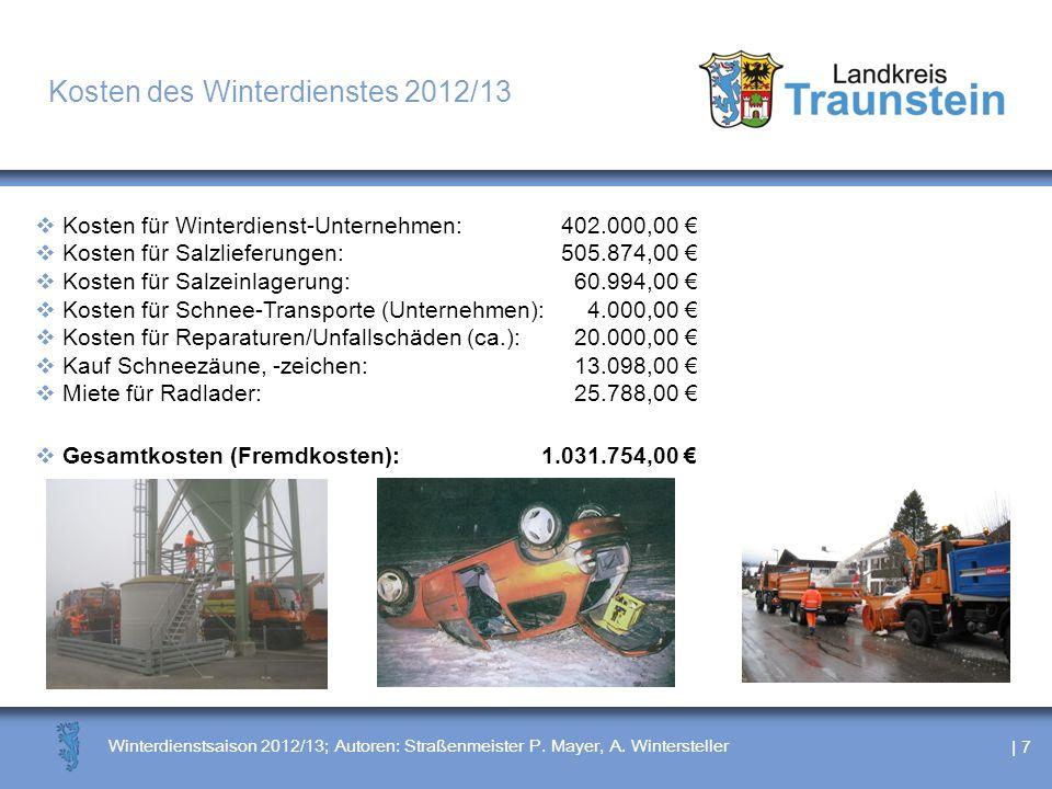 | 7 Winterdienstsaison 2012/13; Autoren: Straßenmeister P. Mayer, A. Wintersteller Kosten des Winterdienstes 2012/13 Kosten für Winterdienst-Unternehm