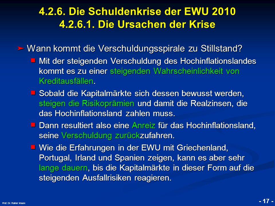 © RAINER MAURER, Pforzheim - 17 - Prof. Dr. Rainer Maure Wann kommt die Verschuldungsspirale zu Stillstand? Wann kommt die Verschuldungsspirale zu Sti