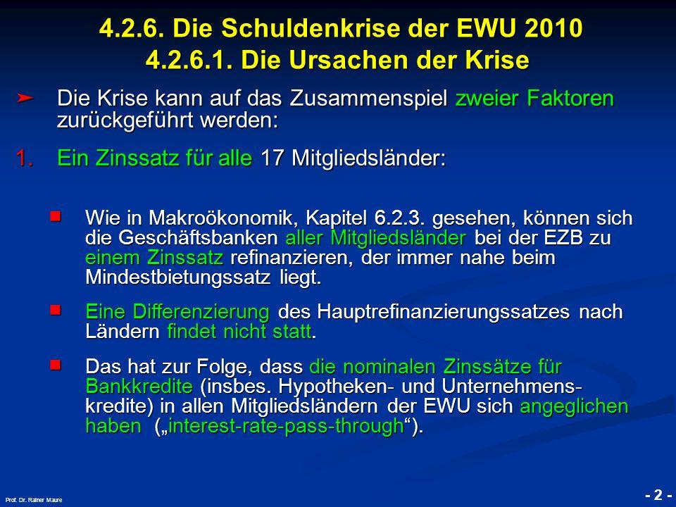 © RAINER MAURER, Pforzheim 4.2.6. Die Schuldenkrise der EWU 2010 4.2.6.1. Die Ursachen der Krise 4.2.6. Die Schuldenkrise der EWU 2010 4.2.6.1. Die Ur