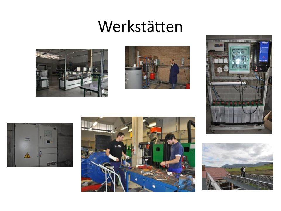 Cenifer Art der Werkstätten: – Photovoltaik – Solarthermie – Metallbearbeitung – Automatisierungstechnik – Regelungstechnik/Wasserkraft – Windenergie – Kälte- Wärmetechnik – Speziallabor (Versuche für Patente) (Viele reale Komponenten, sehr gut ausgestattet, sehr hohes Niveau der Ausstattung, viel Siemens)