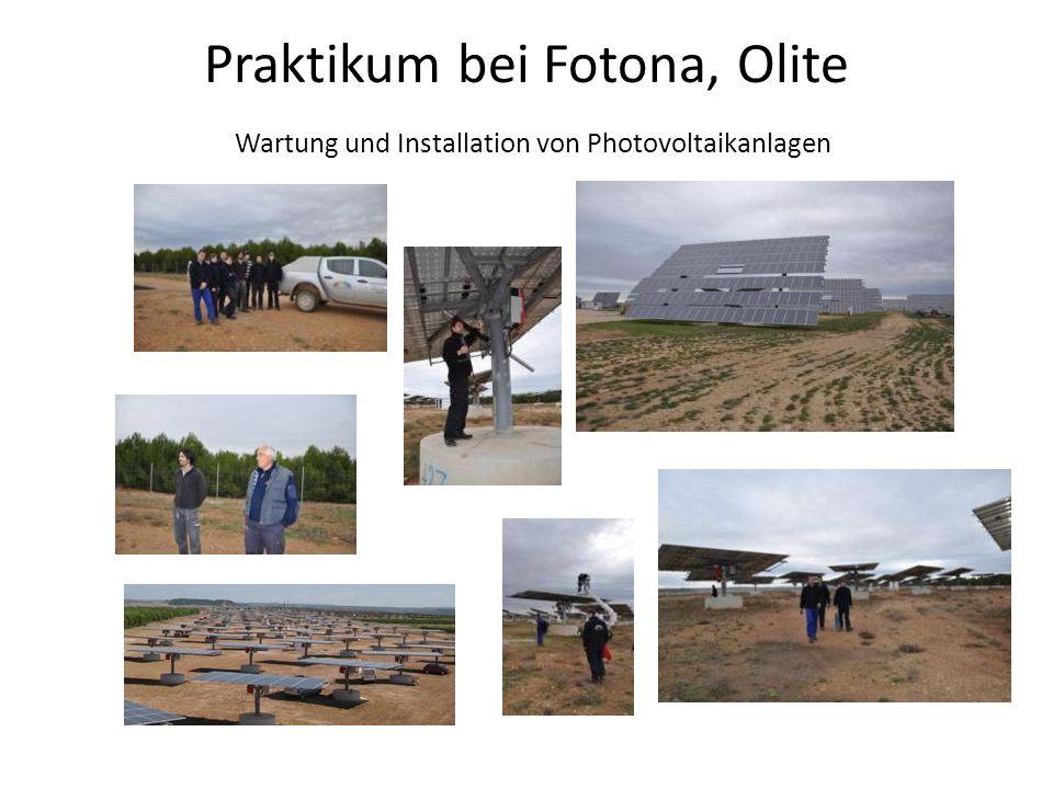 Praktikum bei Fotona, Olite Wartung und Installation von Photovoltaikanlagen