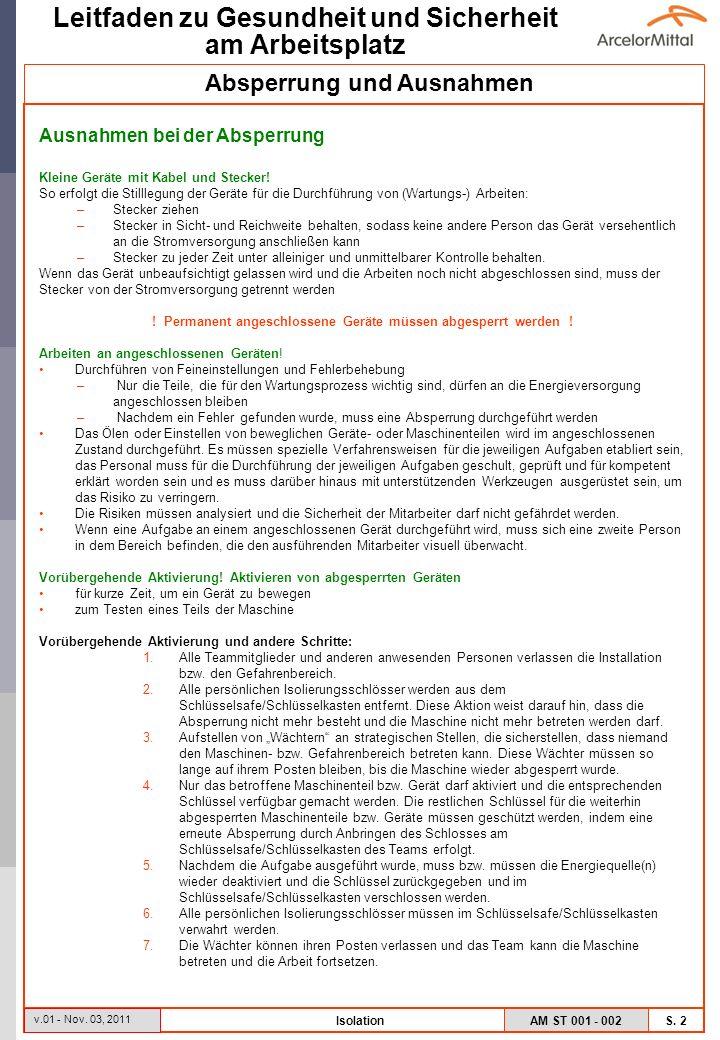 AM ST 001 - 002 S.3 Leitfaden zu Gesundheit und Sicherheit am Arbeitsplatz v.01 - Nov.