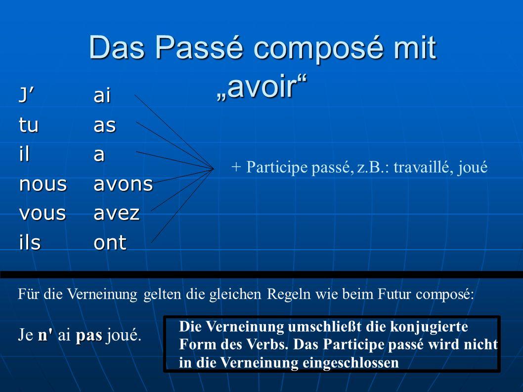 Das Passé composé mit avoir Jai tuas ila nousavons vousavez ilsont +Participe passé, z.B.: travaillé, joué Für die Verneinung gelten die gleichen Rege