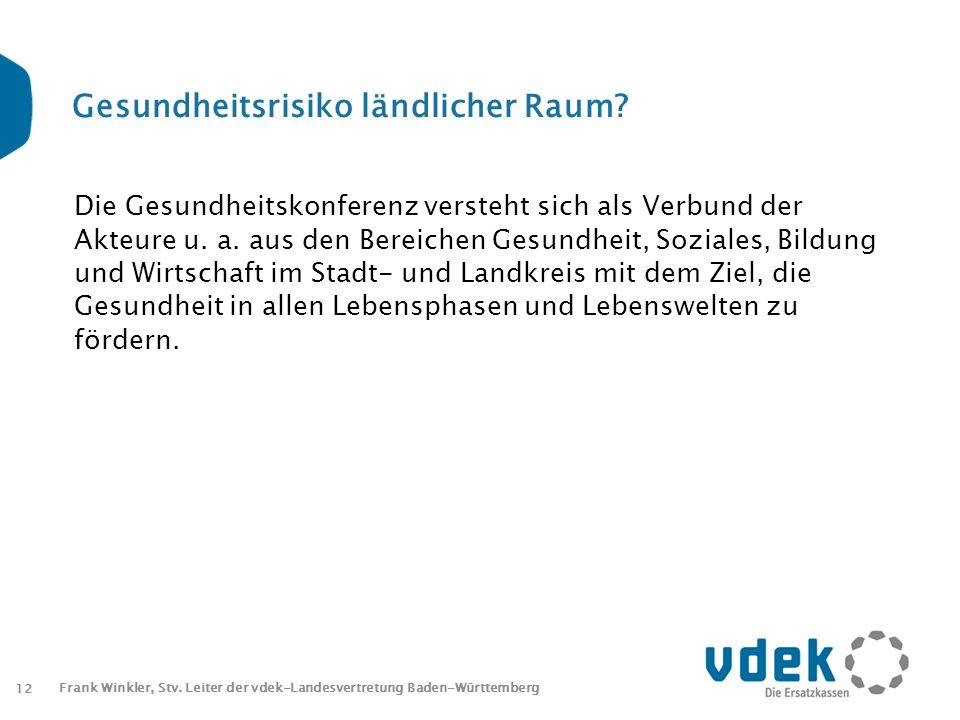 12 Frank Winkler, Stv. Leiter der vdek-Landesvertretung Baden-Württemberg Gesundheitsrisiko ländlicher Raum? Die Gesundheitskonferenz versteht sich al