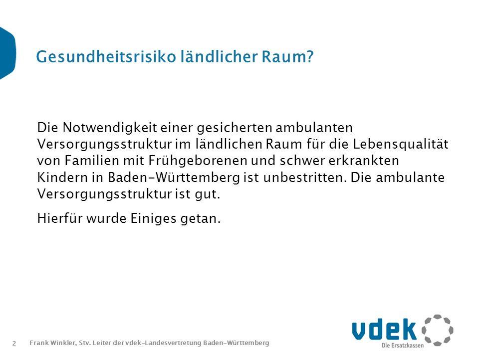 2 Frank Winkler, Stv. Leiter der vdek-Landesvertretung Baden-Württemberg Gesundheitsrisiko ländlicher Raum? Die Notwendigkeit einer gesicherten ambula