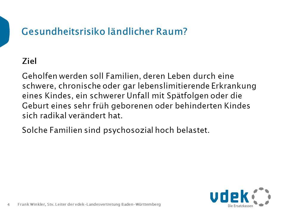 4 Frank Winkler, Stv. Leiter der vdek-Landesvertretung Baden-Württemberg Gesundheitsrisiko ländlicher Raum? Ziel Geholfen werden soll Familien, deren