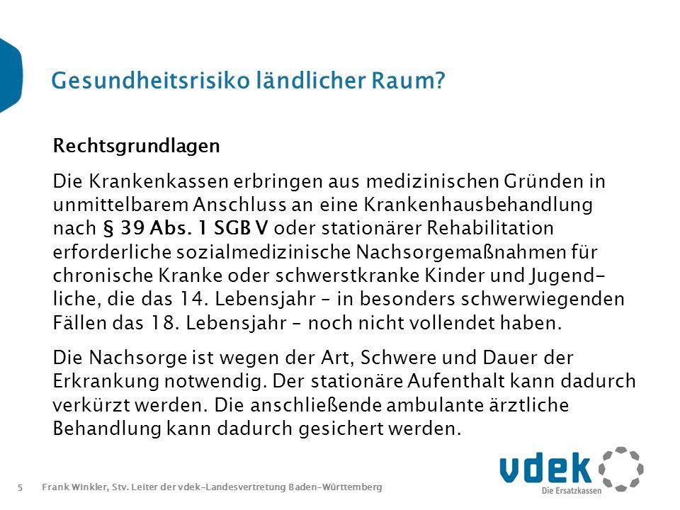 5 Frank Winkler, Stv. Leiter der vdek-Landesvertretung Baden-Württemberg Gesundheitsrisiko ländlicher Raum? Rechtsgrundlagen Die Krankenkassen erbring