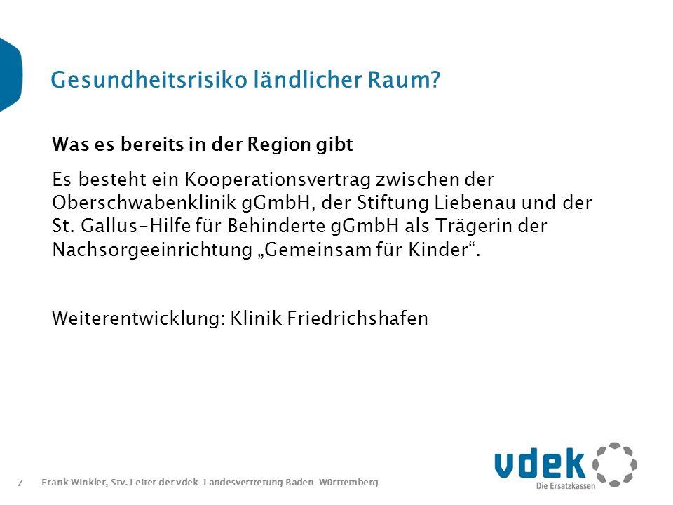 7 Frank Winkler, Stv. Leiter der vdek-Landesvertretung Baden-Württemberg Gesundheitsrisiko ländlicher Raum? Was es bereits in der Region gibt Es beste