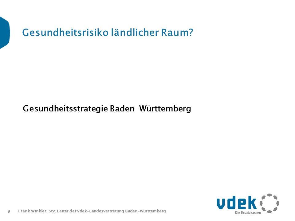 9 Frank Winkler, Stv. Leiter der vdek-Landesvertretung Baden-Württemberg Gesundheitsrisiko ländlicher Raum? Gesundheitsstrategie Baden-Württemberg