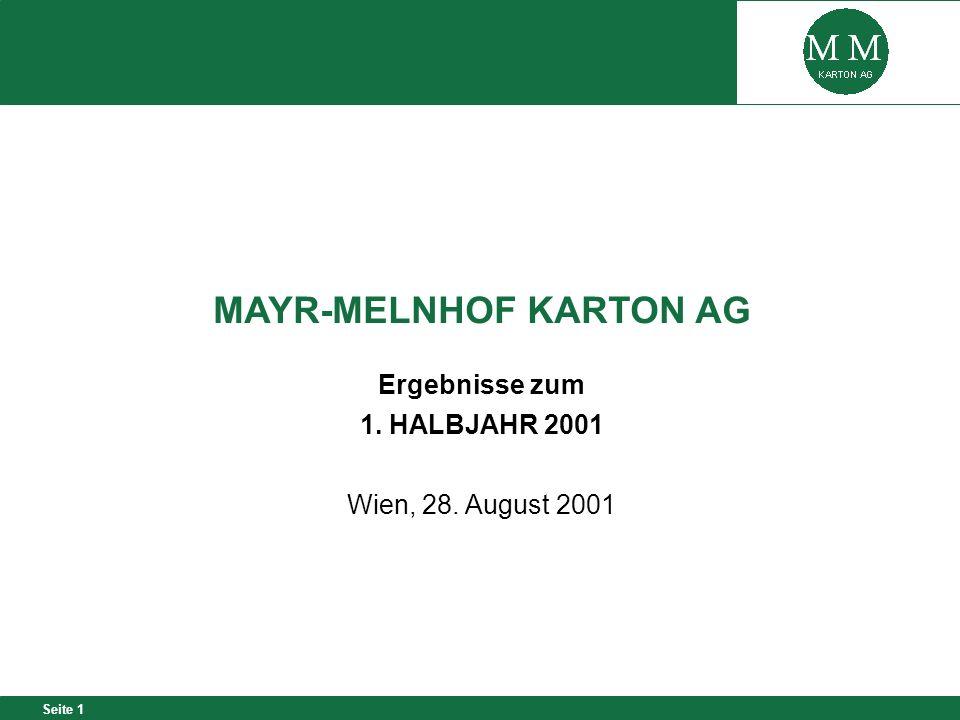 Seite 1 MAYR-MELNHOF KARTON AG Ergebnisse zum 1. HALBJAHR 2001 Wien, 28. August 2001