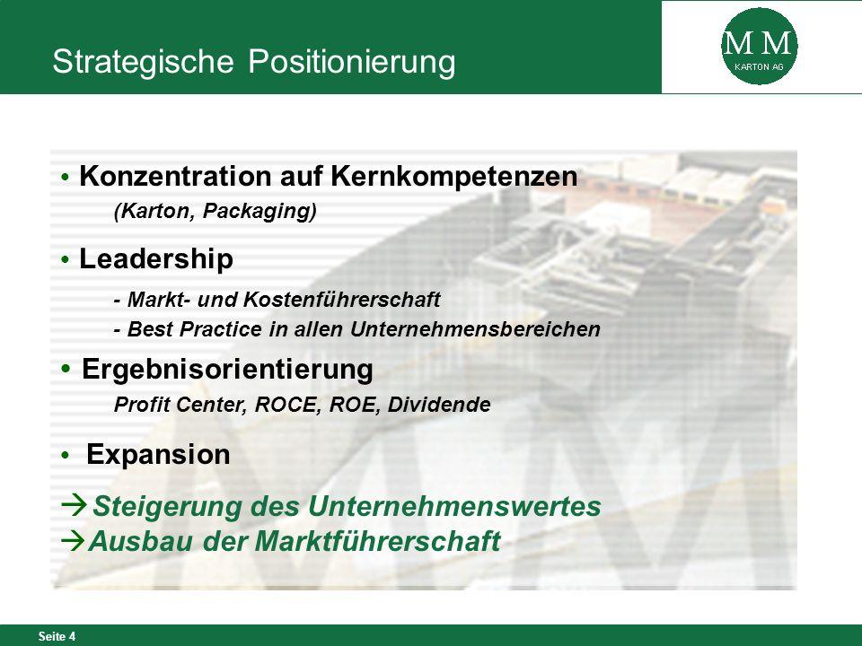 Seite 4 Konzentration auf Kernkompetenzen (Karton, Packaging) Leadership - Markt- und Kostenführerschaft - Best Practice in allen Unternehmensbereiche