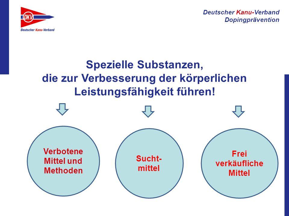 Deutscher Kanu-Verband Dopingprävention Spezielle Substanzen, die zur Verbesserung der körperlichen Leistungsfähigkeit führen! Verbotene Mittel und Me