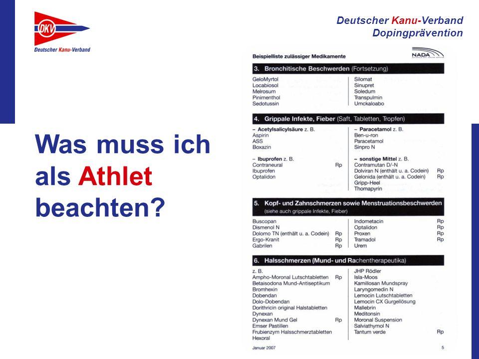 Deutscher Kanu-Verband Dopingprävention Was muss ich als Athlet beachten?