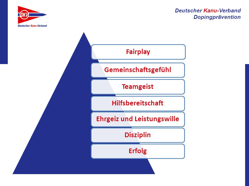 Deutscher Kanu-Verband Dopingprävention FairplayGemeinschaftsgefühlTeamgeistHilfsbereitschaftEhrgeiz und LeistungswilleDisziplinErfolg