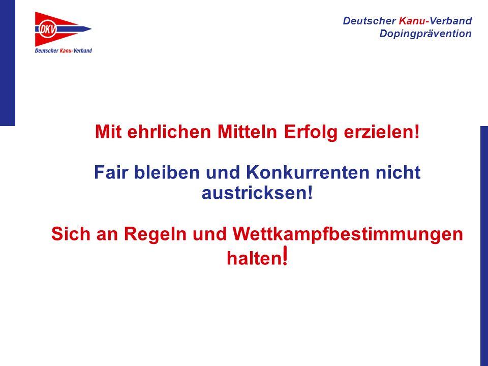 Deutscher Kanu-Verband Dopingprävention Gemeinschaft Teamgeist Hilfsbereitschaft