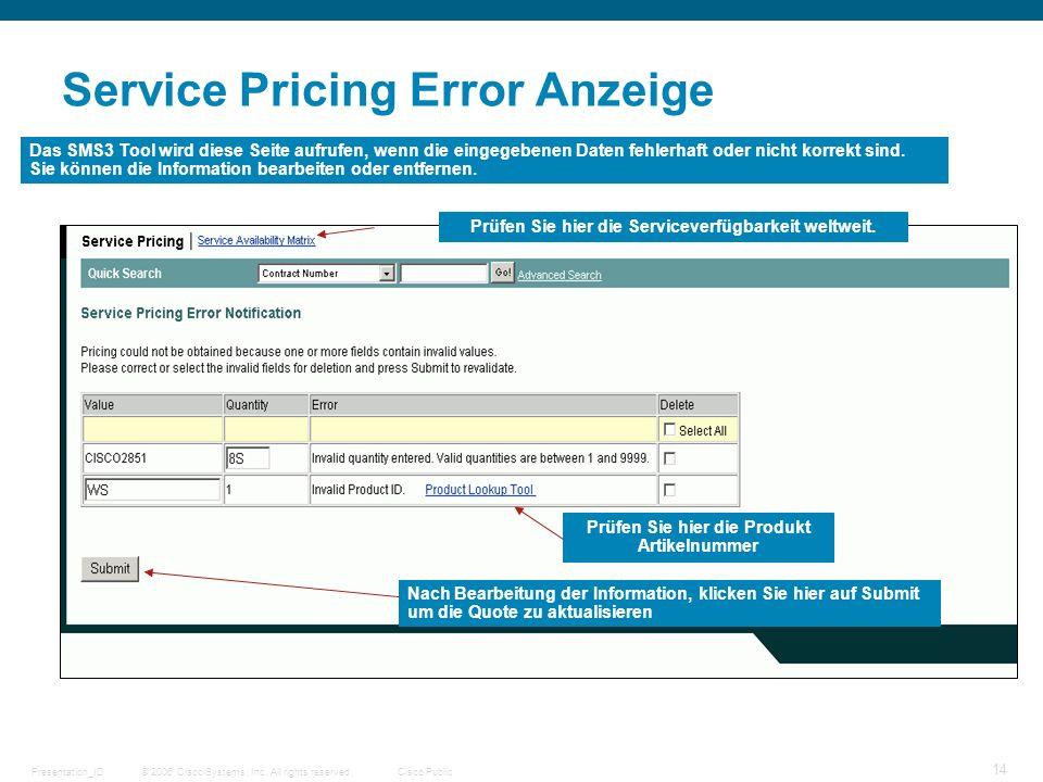 © 2006 Cisco Systems, Inc. All rights reserved.Cisco PublicPresentation_ID 14 Service Pricing Error Anzeige Das SMS3 Tool wird diese Seite aufrufen, w