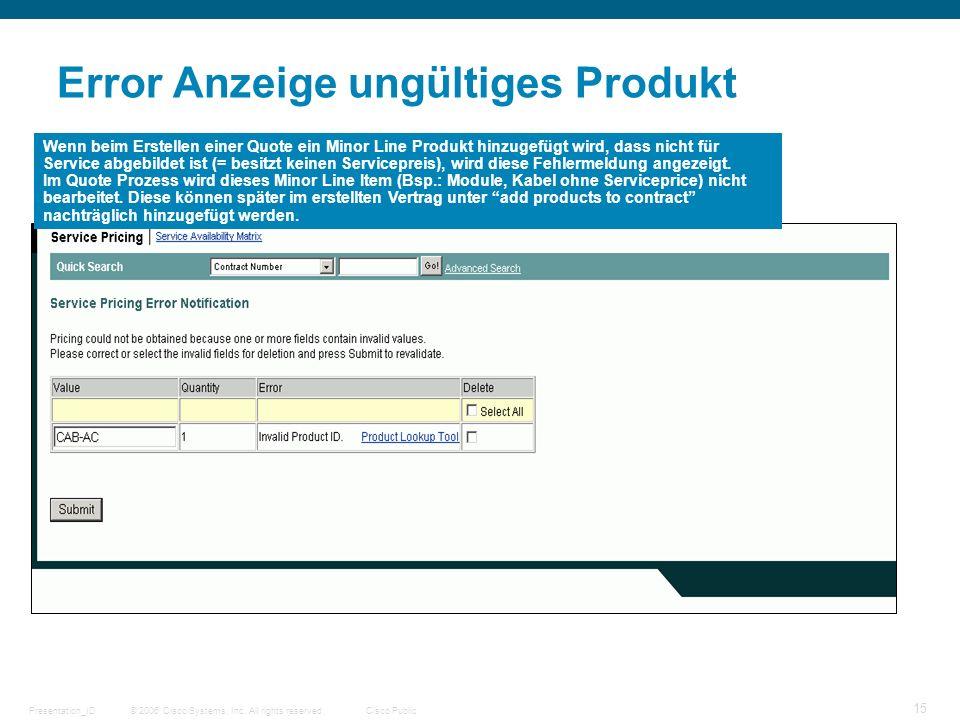 © 2006 Cisco Systems, Inc. All rights reserved.Cisco PublicPresentation_ID 15 Error Anzeige ungültiges Produkt Wenn beim Erstellen einer Quote ein Min