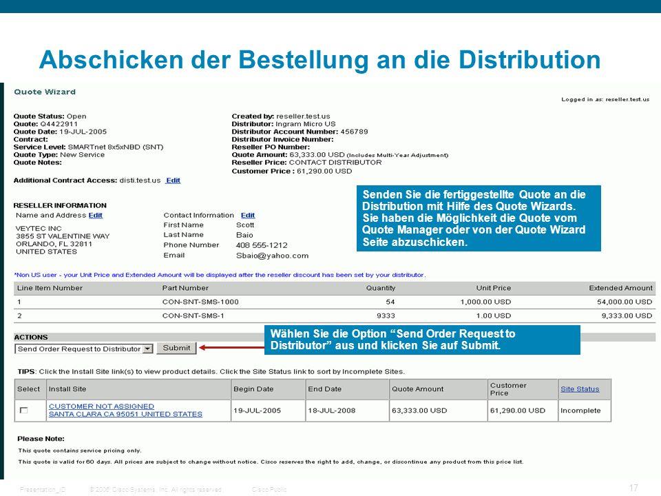 © 2006 Cisco Systems, Inc. All rights reserved.Cisco PublicPresentation_ID 17 Abschicken der Bestellung an die Distribution Senden Sie die fertiggeste