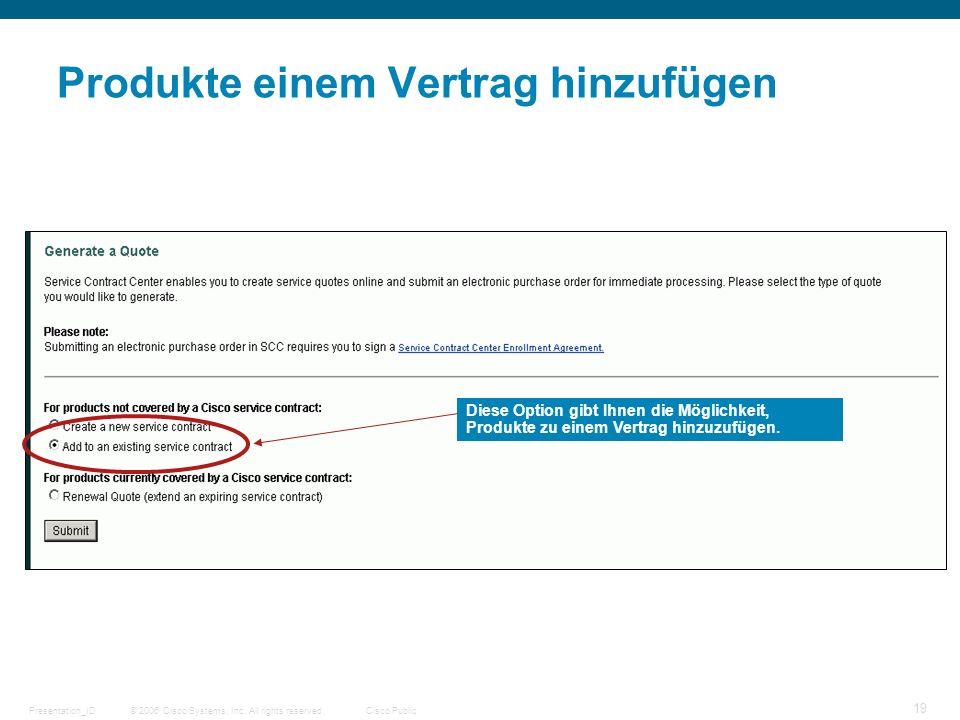 © 2006 Cisco Systems, Inc. All rights reserved.Cisco PublicPresentation_ID 19 Produkte einem Vertrag hinzufügen Diese Option gibt Ihnen die Möglichkei