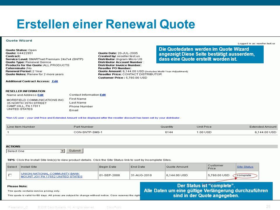 © 2006 Cisco Systems, Inc. All rights reserved.Cisco PublicPresentation_ID 25 Erstellen einer Renewal Quote Die Quotedaten werden im Quote Wizard ange
