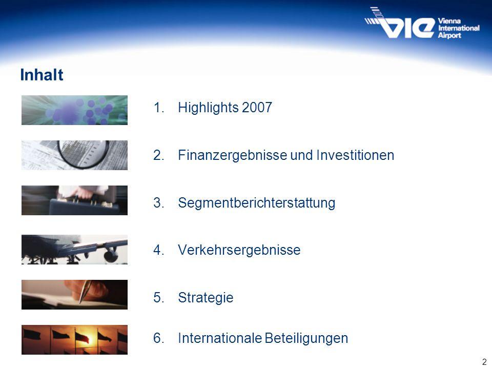 2 Inhalt 1.Highlights 2007 2.Finanzergebnisse und Investitionen 3.Segmentberichterstattung 4.Verkehrsergebnisse 5.Strategie 6.Internationale Beteiligu