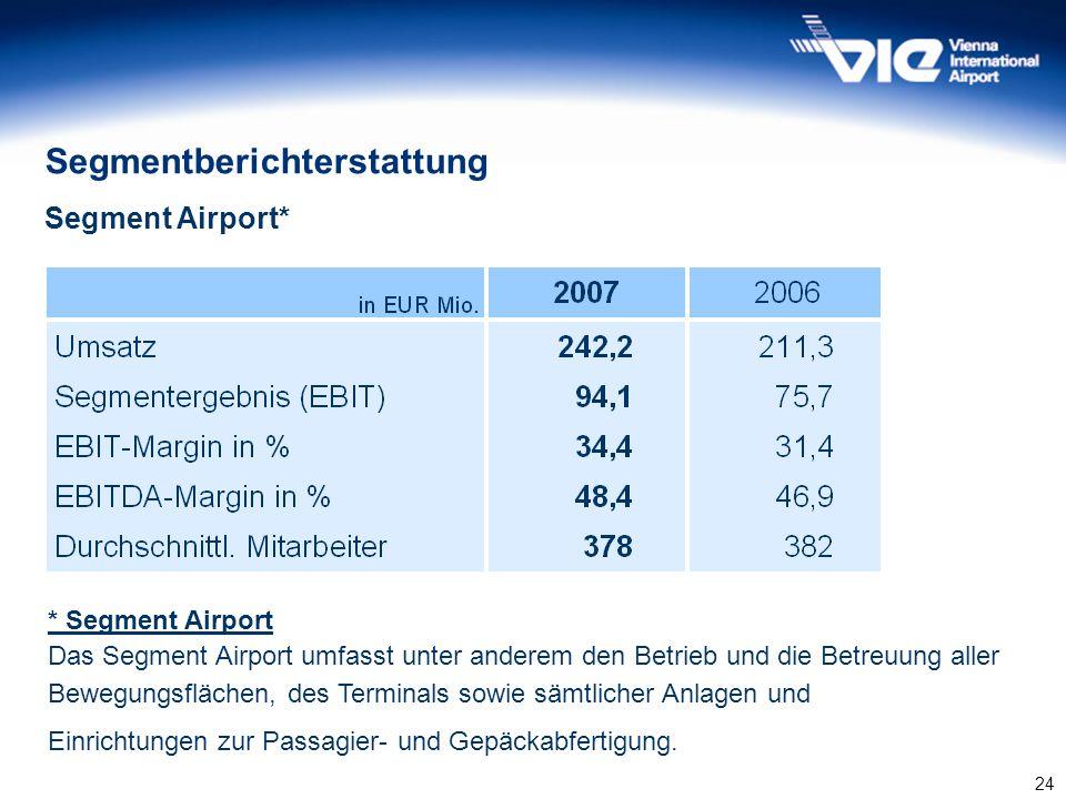 24 Segmentberichterstattung Segment Airport* * Segment Airport Das Segment Airport umfasst unter anderem den Betrieb und die Betreuung aller Bewegungs