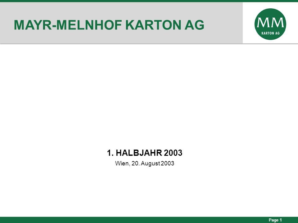 Page 12 MM-KARTON: 1.HALBJAHR 2003 Durchschnittlicher Verkaufspreis in 1.