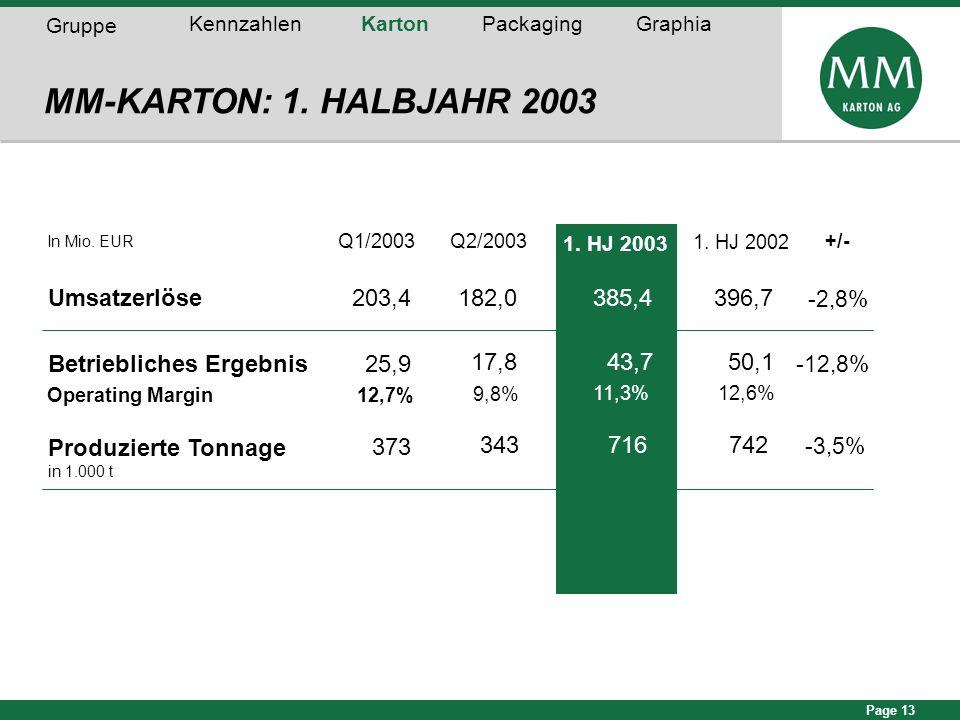 Page 13 In Mio. EUR Q1/2003Q2/2003+/- Umsatzerlöse203,4182,0 -2,8% Betriebliches Ergebnis25,9 -12,8% Operating Margin12,7% 373 -3,5% MM-KARTON: 1. HAL