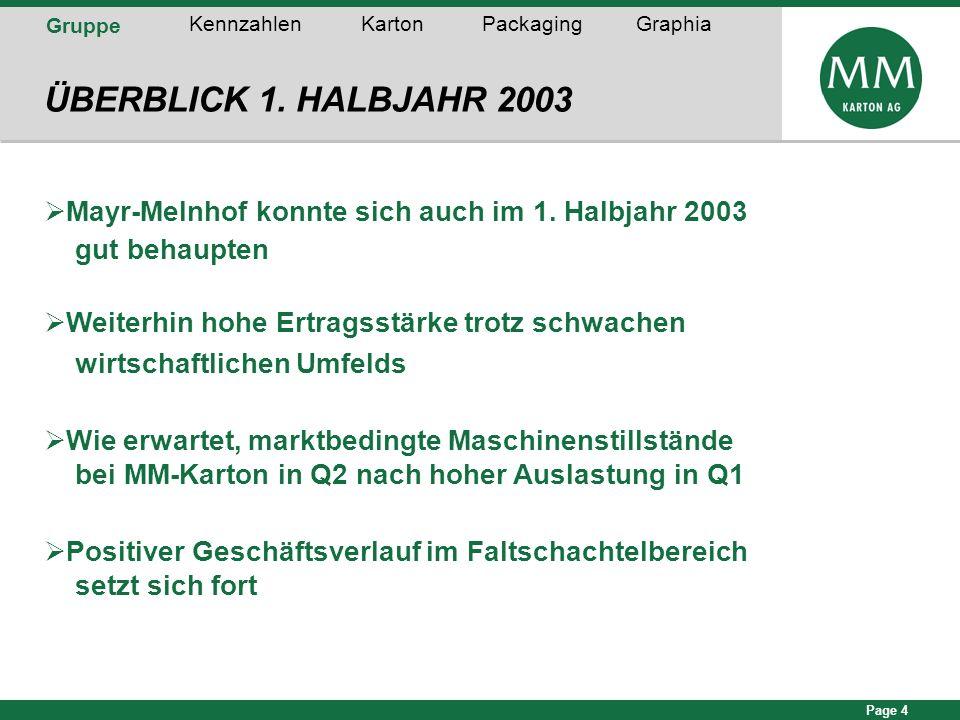 Page 4 ÜBERBLICK 1. HALBJAHR 2003 Mayr-Melnhof konnte sich auch im 1. Halbjahr 2003 gut behaupten Weiterhin hohe Ertragsstärke trotz schwachen wirtsch