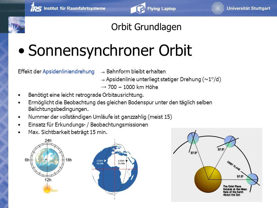 Institut für Raumfahrtsysteme Flying Laptop Orbit Grundlagen Molnyia (12h) Tundra Orbits (24h) Long loitering, sehr hohes Apogäum Früher u.a.