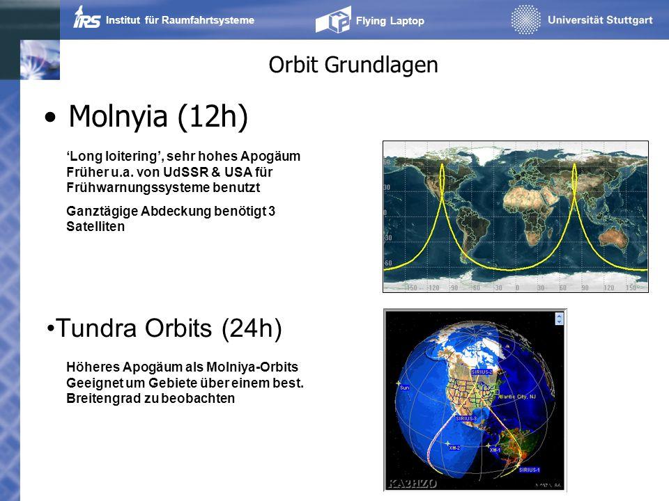 Institut für Raumfahrtsysteme Flying Laptop Orbit Grundlagen Molnyia (12h) Tundra Orbits (24h) Long loitering, sehr hohes Apogäum Früher u.a. von UdSS