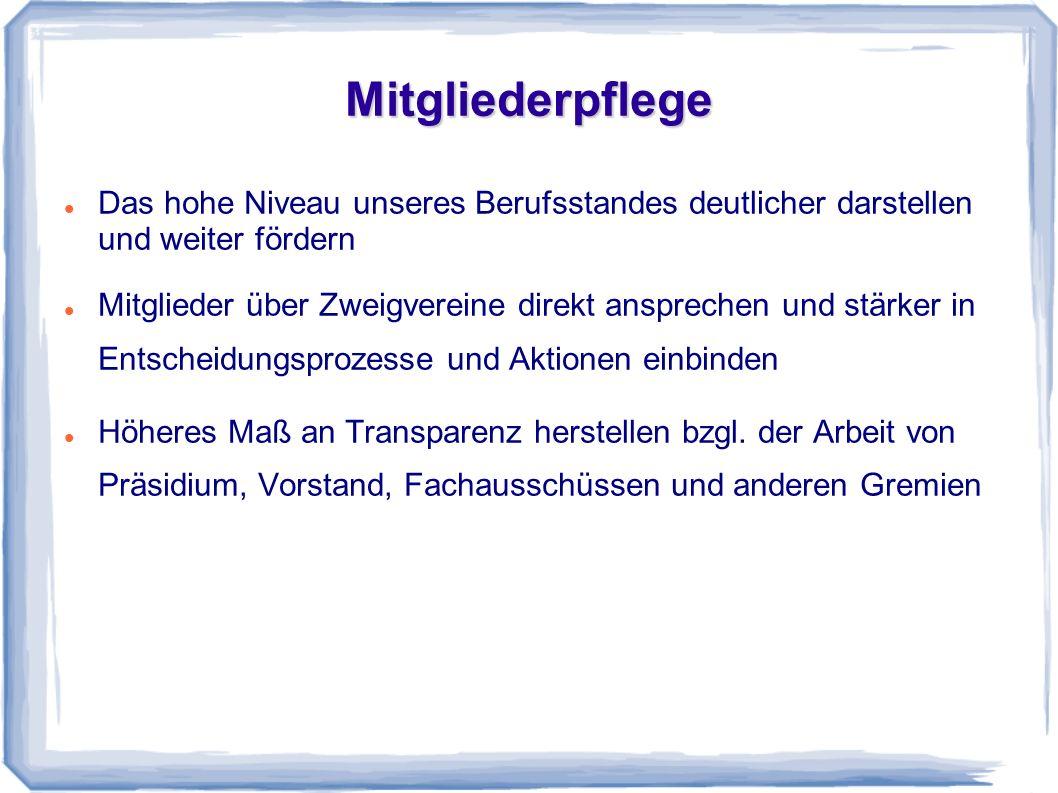 Öffentlichkeitsarbeit Den VKD als kompetenten Berufsverband einer breiten Öffentlichkeit bekannt machen, z.B.