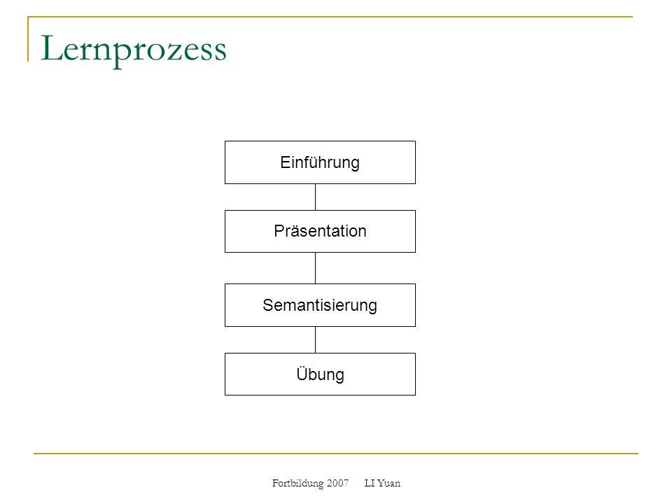 Fortbildung 2007 LI Yuan Lernprozess Einführung Präsentation Semantisierung Übung