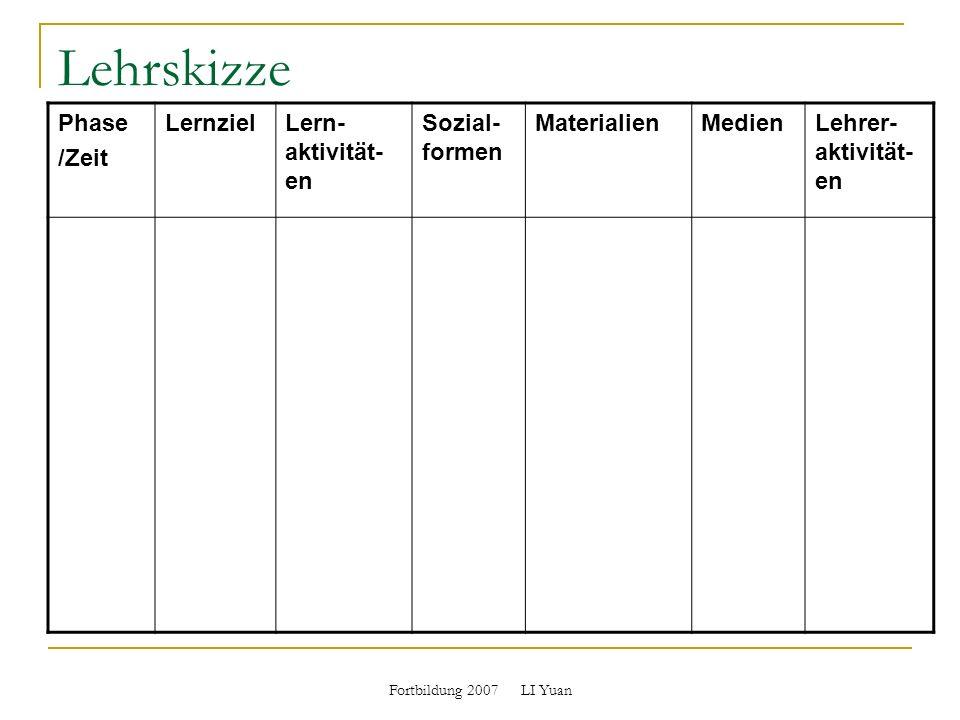Lehrskizze Phase /Zeit LernzielLern- aktivität- en Sozial- formen MaterialienMedienLehrer- aktivität- en
