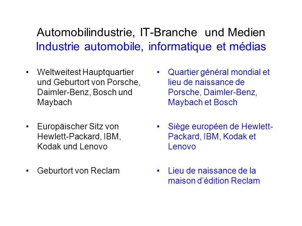 Automobilindustrie, IT-Branche und Medien Industrie automobile, informatique et médias Weltweitest Hauptquartier und Geburtort von Porsche, Daimler-Be