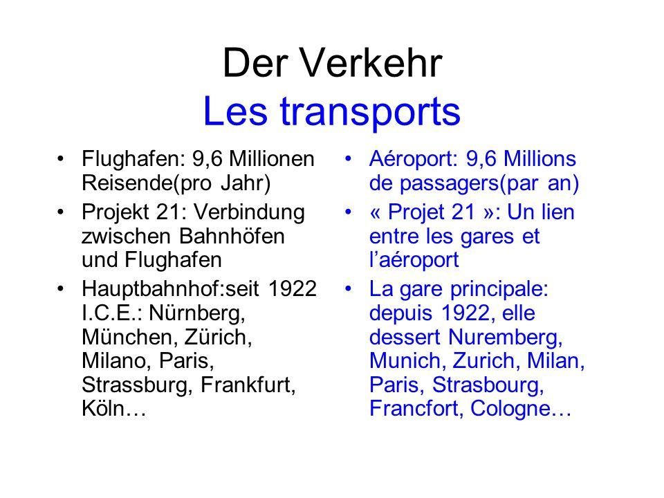Der Verkehr Les transports Flughafen: 9,6 Millionen Reisende(pro Jahr) Projekt 21: Verbindung zwischen Bahnhöfen und Flughafen Hauptbahnhof:seit 1922