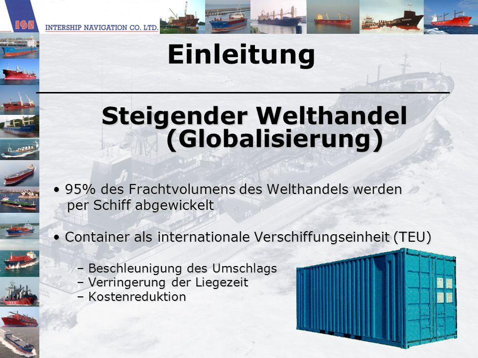 Einleitung Steigender Welthandel (Globalisierung) Steigender Welthandel (Globalisierung) 95% des Frachtvolumens des Welthandels werden 95% des Frachtv