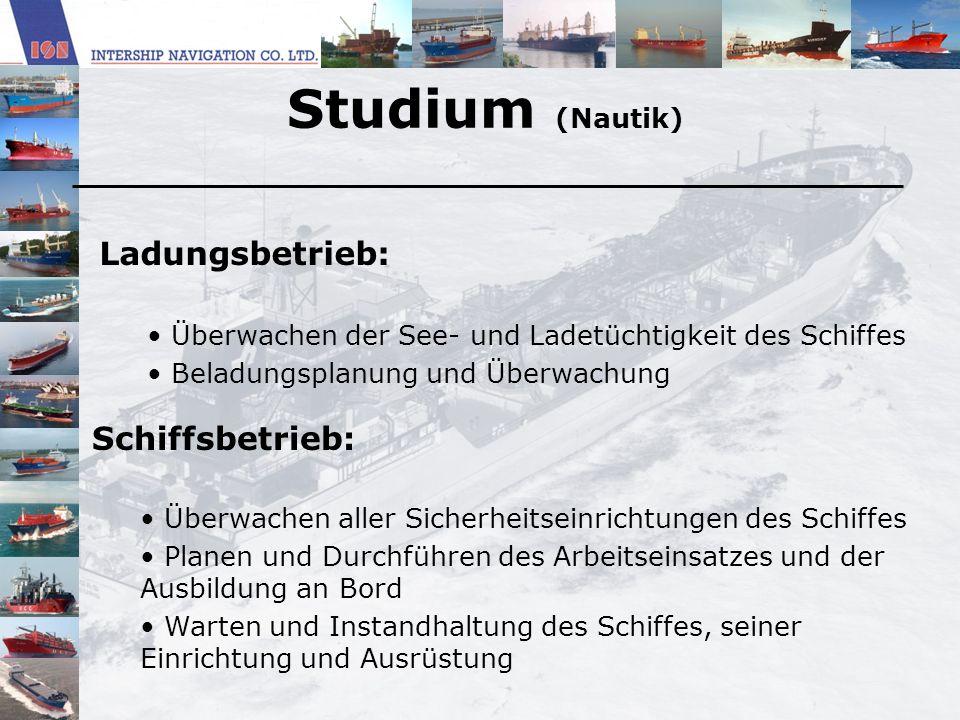 Studium (Nautik) Ladungsbetrieb: Überwachen der See- und Ladetüchtigkeit des Schiffes Beladungsplanung und Überwachung Schiffsbetrieb: Überwachen alle