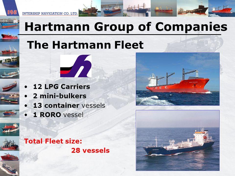 The Hartmann Fleet 12 LPG Carriers 2 mini-bulkers 13 container vessels 1 RORO vessel Total Fleet size: 28 vessels Hartmann Group of Companies