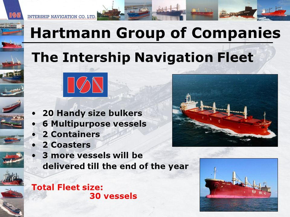 The Intership Navigation Fleet 20 Handy size bulkers 6 Multipurpose vessels 2 Containers 2 Coasters 3 more vessels will be delivered till the end of t