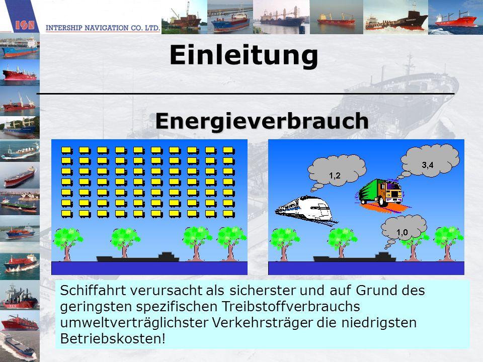 Einleitung Energieverbrauch Schiffahrt verursacht als sicherster und auf Grund des geringsten spezifischen Treibstoffverbrauchs umweltverträglichster