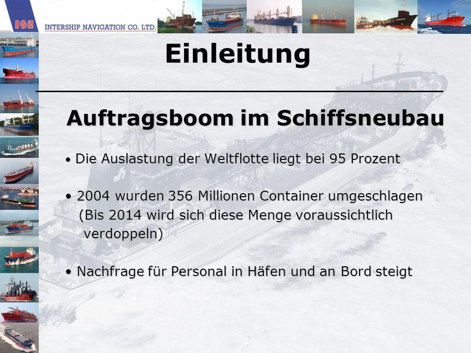 Einleitung Auftragsboom im Schiffsneubau Die Auslastung der Weltflotte liegt bei 95 Prozent Die Auslastung der Weltflotte liegt bei 95 Prozent 2004 wu