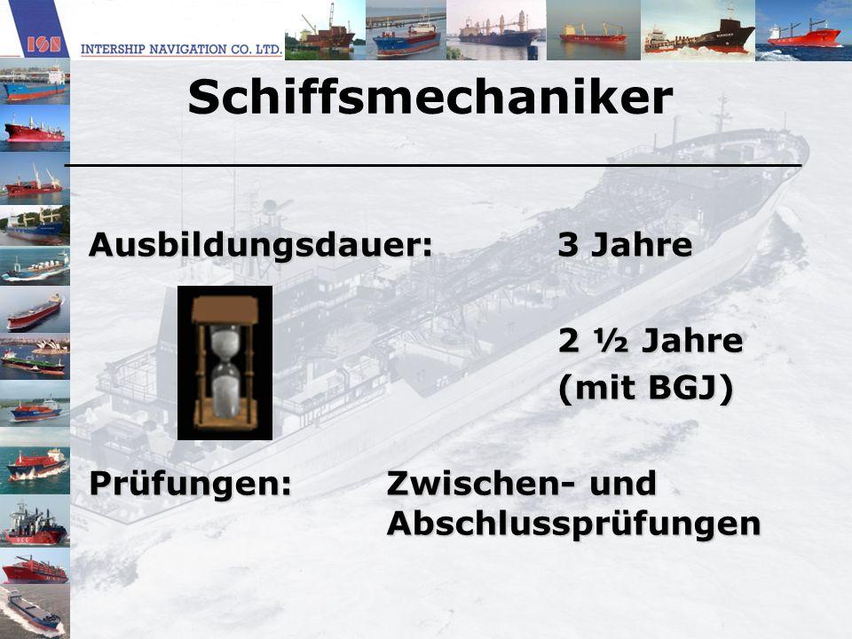 Studium (Schiffsbetriebstechnik) Einsatzgebiete: » Reedereien » Technischer Schiffsoffizier, Leiter der Maschinenanlage » Reedereiinspektion » Kraftwerke » mittelständische Betriebe