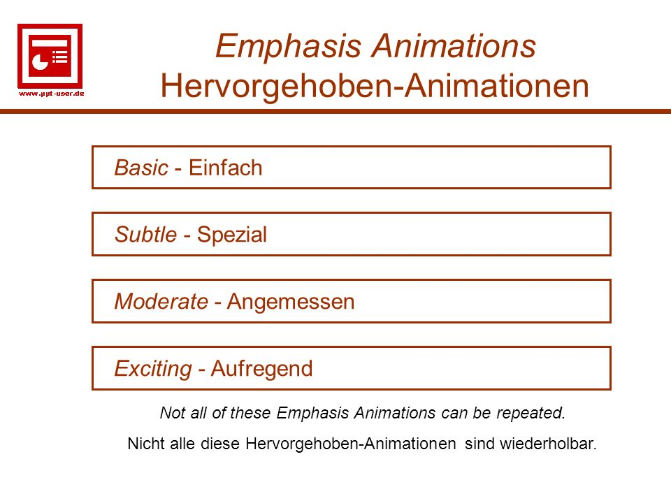 15 Emphasis Animations Hervorgehoben-Animationen Moderate - Angemessen Basic - Einfach Subtle - Spezial Exciting - Aufregend Not all of these Emphasis