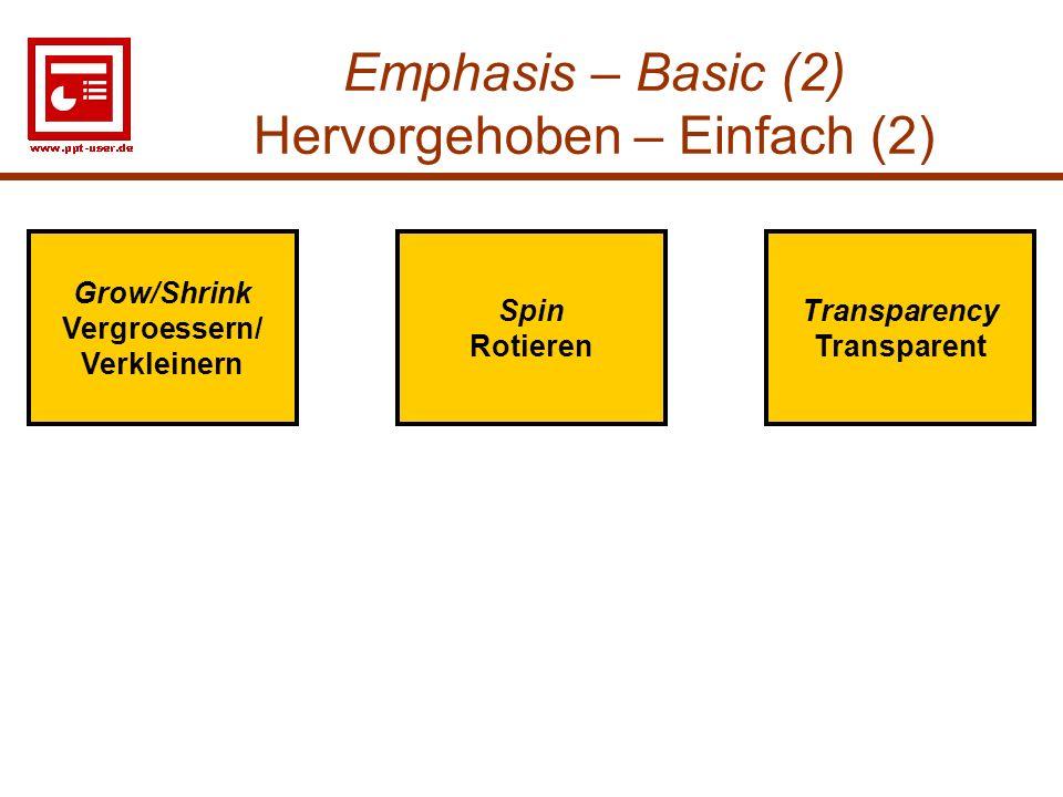 17 Emphasis – Basic (2) Hervorgehoben – Einfach (2) Transparency Transparent Spin Rotieren Grow/Shrink Vergroessern/ Verkleinern