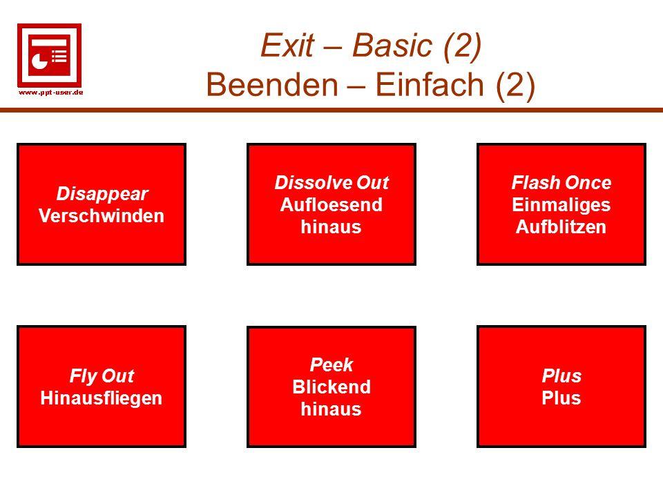 25 Exit – Basic (2) Beenden – Einfach (2) Disappear Verschwinden Flash Once Einmalige Aufblitzen Disappear Verschwinden Flash Once Einmaliges Aufblitz
