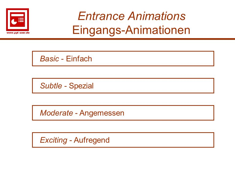 3 Entrance Animations Eingangs-Animationen Moderate - Angemessen Basic - Einfach Subtle - Spezial Exciting - Aufregend