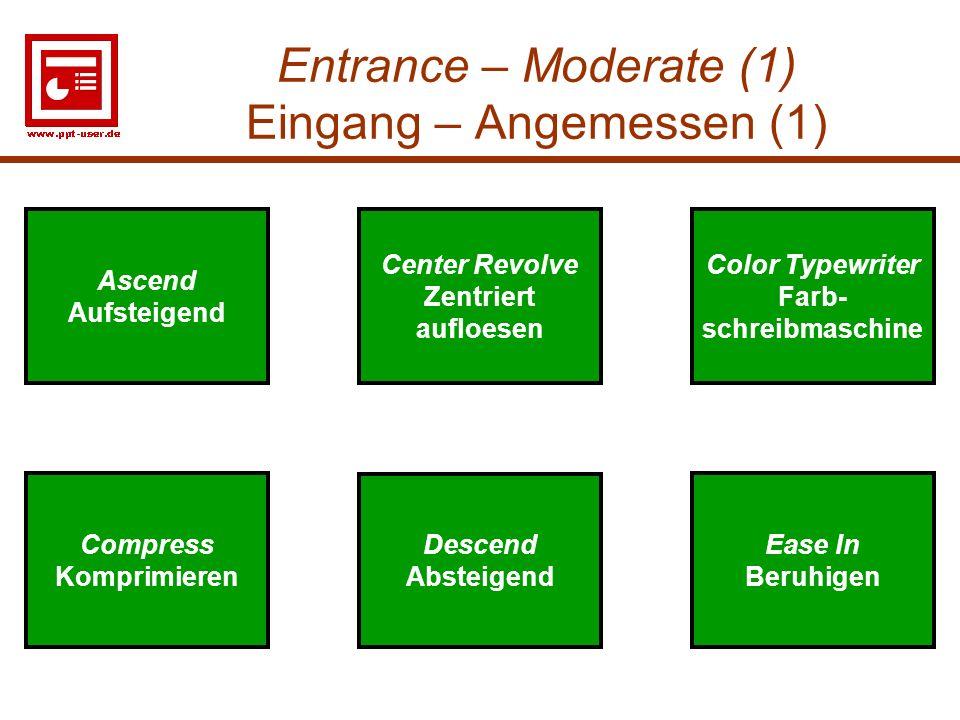 8 Entrance – Moderate (1) Eingang – Angemessen (1) Descend Absteigend Ease In Beruhigen Compress Komprimieren Center Revolve Zentriert aufloesen Desce