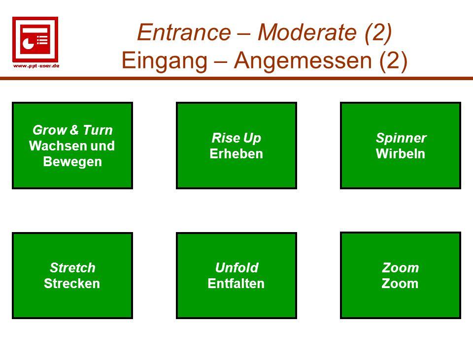 9 Entrance – Moderate (2) Eingang – Angemessen (2) Unfold Entfalten Stretch Strecken Spinner Wirbeln Zoom Unfold Entfalten Stretch Strecken Spinner Wi