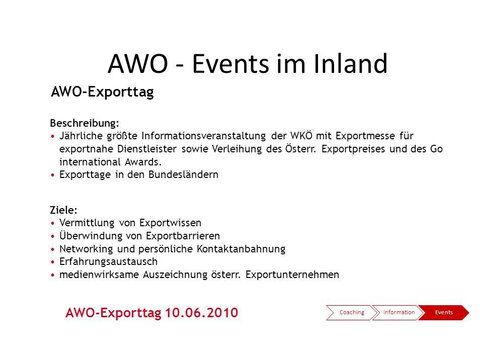 AWO - Events im Inland CoachingInformationEvents AWO-Exporttag Beschreibung: Jährliche größte Informationsveranstaltung der WKÖ mit Exportmesse für ex